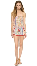 Charlie Jade Strapless Drawstring Romper Coral