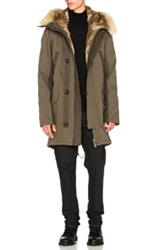 Yves Salomon Cotton Rabbit Parka With Coyote In Green