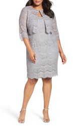 Alex Evenings Plus Size Women's Lace Sheath Dress With Jacket Silver