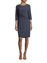 Lafayette 148 New York Ruched Solid Dress Blue Storm
