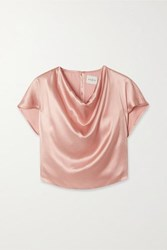 Le Kasha Tarim Draped Silk Satin Top Pink