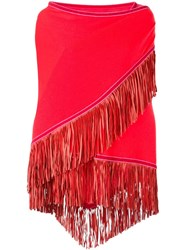 Antonia Zander Fringe Trim Knitted Shawl Red