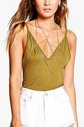 Boohoo Cross Over Fine Body Chain Rose Gold