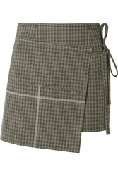 Sandy Liang Checked Cotton Blend Wrap Mini Skirt Mushroom
