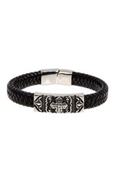 Jean Claude Cross Ornament Buckle Braided Leather Bracelet Black