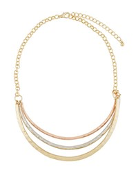 Kenneth Jay Lane Tri Tone Layered Triple Row Necklace Multi