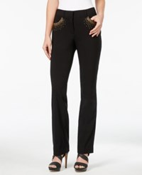 Jm Collection Petite Embellished Straight Leg Pants Only At Macy's Deep Black