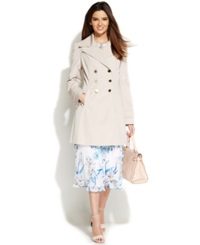 Ivanka Trump Water Resistant Double Breasted Trench Coat Stone
