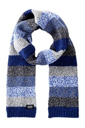 Jack Spade Marbled Multi Stripe Wool Blend Scarf Blue