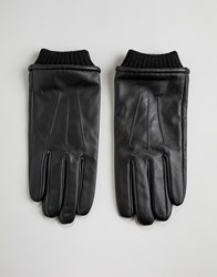 Barney's Barneys Leather Gloves With Cuff Detail Black