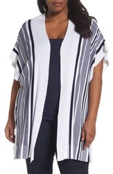 Foxcroft Plus Size Women's Kris Stripe Knit Open Cardigan Navy
