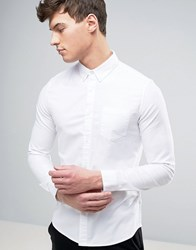 Burton Menswear Skinny Oxford Shirt With Stretch White