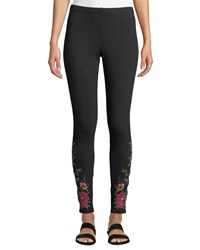 Johnny Was Katina Leggings W Floral Embroidery Plus Size Black
