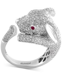 Effy Diamond 1 7 8 Ct. T.W. And Ruby Accent Rabbit Ring In 14K White Gold