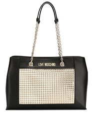 Love Moschino Laminated Tote Bag Black
