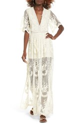 Socialite Women's Lace Overlay Romper Ivory