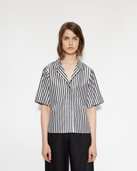 Margaret Howell Wide Sleeve Rever Shirt Black White