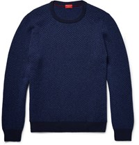 Isaia Elbow Patch Herringbone Wool Sweater Blue