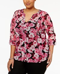 Inc International Concepts Plus Size Floral Print Blouse Only At Macys Red Spirited Rose