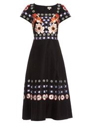 Temperley London Sylvie Cotton And Silk Blend Midi Dress Black Print