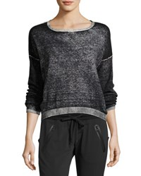 Blanc Noir Scoop Neck Boyfriend Pullover Sweater Black