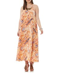 Harper Liv Plus Tribal Open Back Halter Maxi Dress Hot Coral