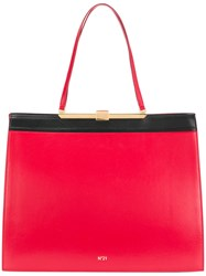 N 21 No21 Contrast Lined Square Shaped Tote Bag Red