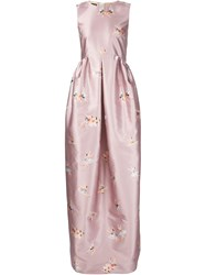 Rochas Ballerina Print Evening Dress Pink And Purple