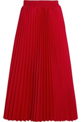 Balenciaga Pleated Crepe Midi Skirt Red