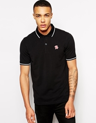 Evisu Polo Chin Chin Tipped Black