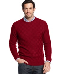 Geoffrey Beene Big And Tall Solid Basketweave Sweater Wine