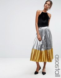 Asos Tall Pleated Midi Skirt In Metallic With Contrast Hem Silver