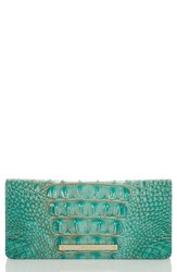 Brahmin 'Ady' Croc Embossed Continental Wallet Blue Green Turquoise