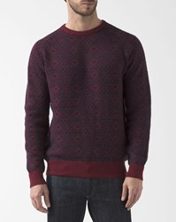 Timberland Blue And Bordeaux Jacquard Wool Pullover