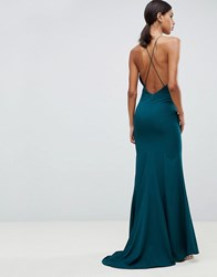 Jarlo Fishtail Maxi Dress With Strappy Back In Green Forest Green