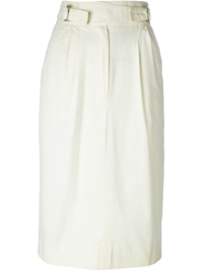 Celine Vintage High Waisted Pencil Skirt White