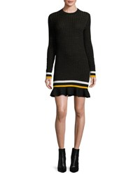 3.1 Phillip Lim Long Sleeve Cotton Crochet Mini Dress Black