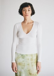 Which We Want Hollie V Neck Top In White Size Extra Small Spandex