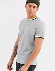 Threadbare Organic Cotton Ringer T Shirt In Grey With Neon