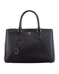 Prada Saffiano Small Double Zip Executive Tote Bag Black