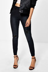 Boohoo Marie Mid Rise Skinny Destroyed Knee Jean Washed Black