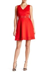 Guess V Neck Fit And Flare Dress Red