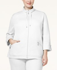 Karen Scott Plus Size Three Quarter Sleeve Jacket Only At Macy's Bright White