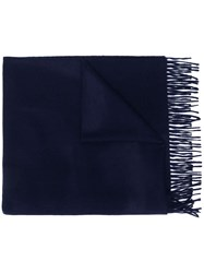 Begg And Co Fringed Cashmere Scarf Blue