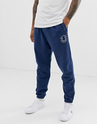 Fred Perry Retro Embroidered Oversized Sweat Joggers In Blue