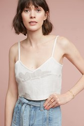 Anthropologie Cropped Linen Cami Neutral Motif