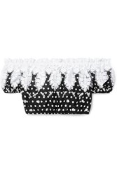 Miguelina Tessa Off The Shoulder Cropped Polka Dot Crocheted Cotton Voile Top Black