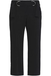 A.L.C. Cropped Belted Stretch Crepe Straight Leg Pants Black