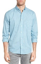 Faherty Men's Laguna Check Sport Shirt Teal Check
