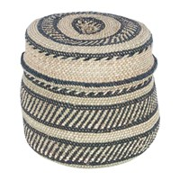 The Basket Room Nyumba Pattern Lidded Hand Woven Black Cream